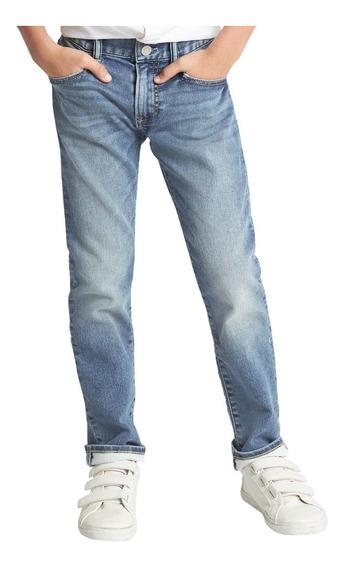 Jeans Niño Pantalón Mezclilla Slim Cintura Ajustable Gap