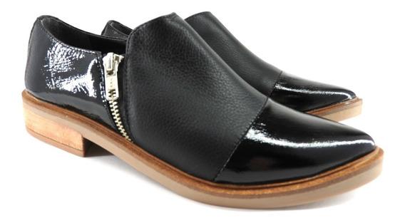 Chata Punta Cierre Moda Mujer Calzado Zapato Cuero 111/mk