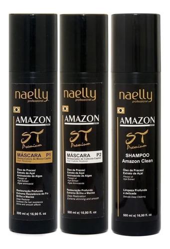 Imagem 1 de 8 de Naelly St Premium Kit Definitiva 500ml + Brinde! Alisa Afro
