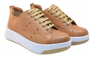 Zapatilla De Cuero Plataforma Urbanas Sneakers Moda Mujer