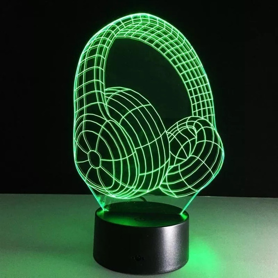 Abajur Luminária Fone De Ouvido Led 3d Com 7 Cores Acrílico