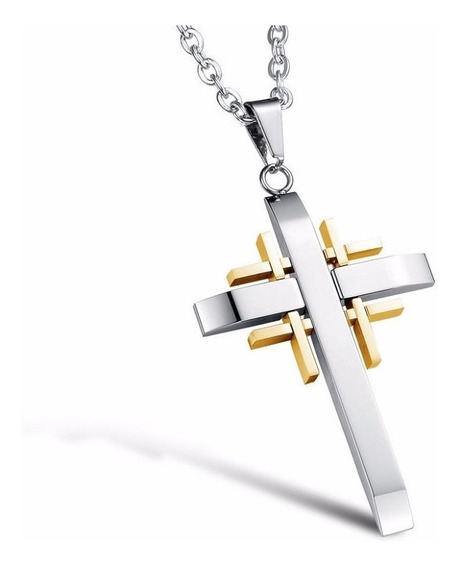 Colar Masculino Pingente Crucifixo Aço Inox 316l + Corrente