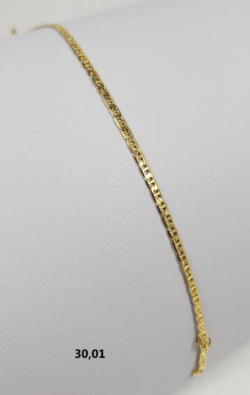 Pulseira Bruna Banhada À Ouro 18k Malha Chapinha 14/16cm