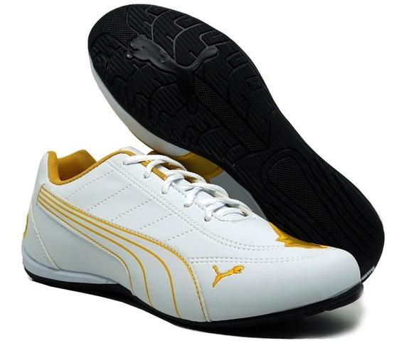 Tênis Puma Bmw Cat Branco E Ouro Importado C/ Frete Grátis