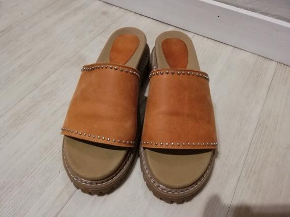 Sandalias De Cuero Color Suela N° 38