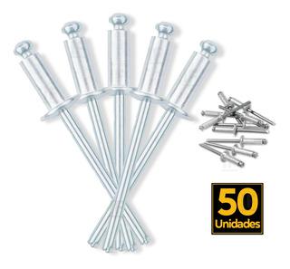 Rebite De Repuxo Em Alumínio 48x14mm Com 50 Peças Cromado