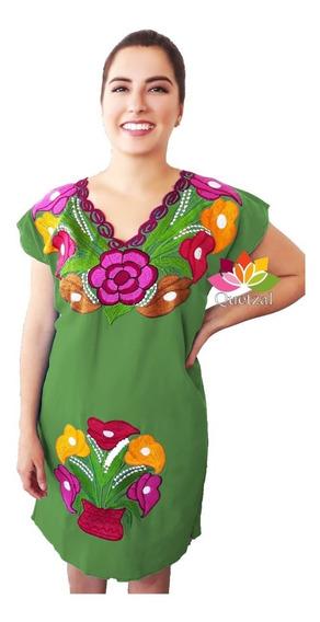 Vestido Dama Típico Bordado Mexicano Artesanal Chiapas