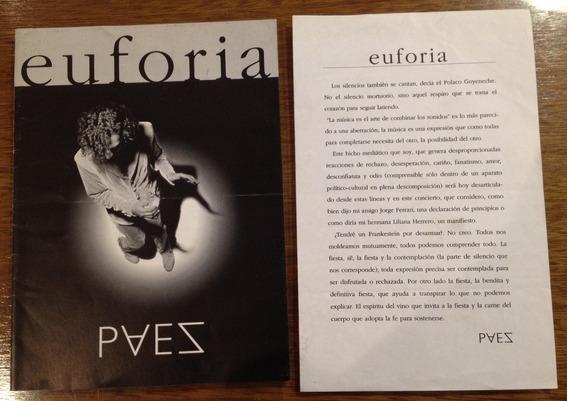 Programa + Hoja Del Recital Euforia De Fito Páez