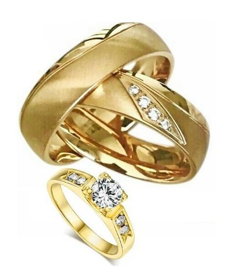 Alianças Banhada Ouro 18 Casamento Noivado+anel Solitario