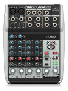 Consola Behringer Xenyx Q802usb Mezclador 8 Entradas Usb