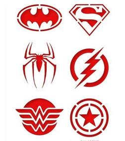 Stencil Molde Com 12 Super Heróis 6x6 Cm Cada Desenho