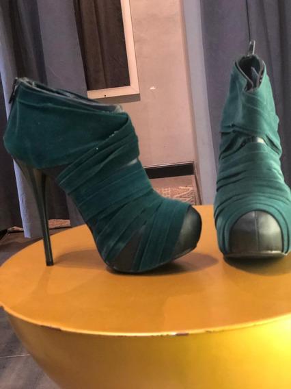 Botines, Zapatos De Mujer, Verde Obscuro, Nuevos