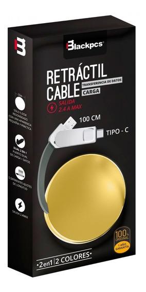 Cable Dual Usb Tipo C Dorado Retractil Blackpcs Cagmcpr-3