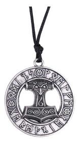Colar Martelo Viking Runas Cordao Tribal Pingente Vikings