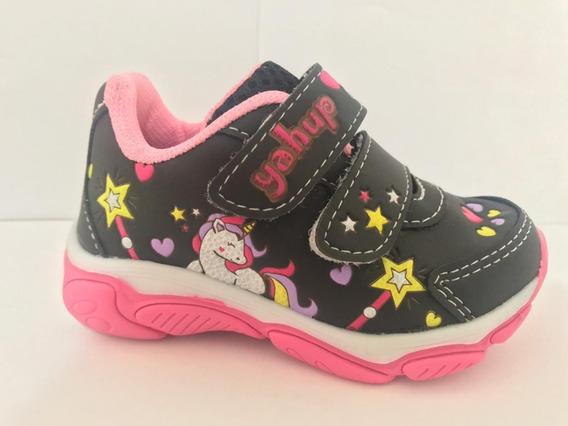 Tênis Infantil Feminino Menina Velcro Do 20 Ao 27 Com Luz 01-019-302