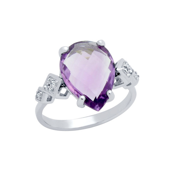 Rose-cut Pear Shaped Genuine Amethyst Ring With White Topaz