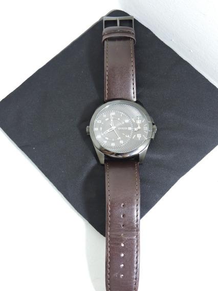Relógio Guess Masculino Couro Marrom - Cronogrofo Semi-novo