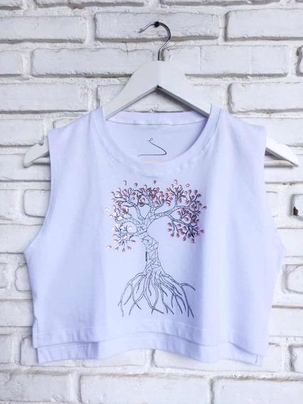 Camiseta Cropped Árvore Da Vida Com Pedrarias