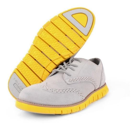 Zapato Oxford Cole Haan Para Niño Gris Suela Zero Amarillo