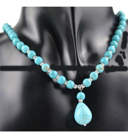V) Colar Com Pingente Turquesa Azul -promoção Oferta