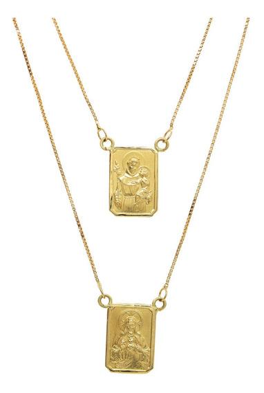 Colar Escapulário Duplo Em Ouro Amarelo 18k Delicado J21427