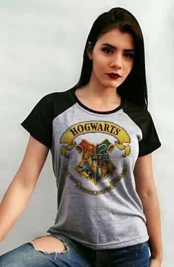 Baby Look Hogwarts - Blusa Raglan Harry Potter