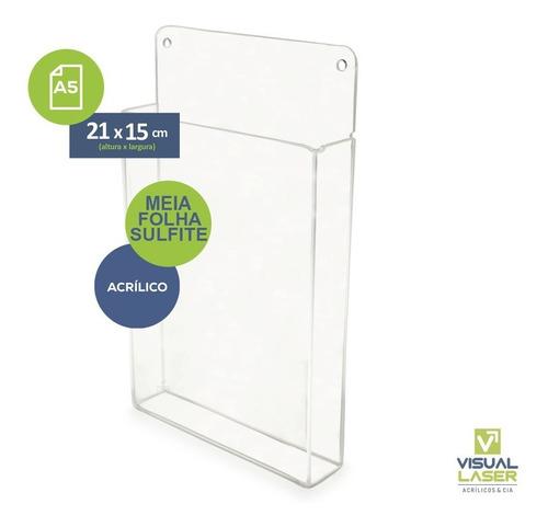 Display Acrílico Parede Porta Folha A5 Com Bolso