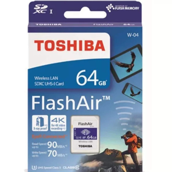Cartão Memória Sd Toshiba Flashair Wi-fi 64gb Classe 10 W04