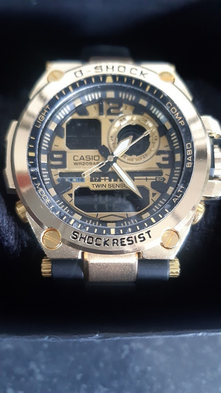 Relógio De Pulso Masculino Dourado Digital Analógico