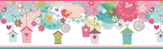 Casas Casitas Rosa Infantil Adhesiva Guarda Muresco 13011