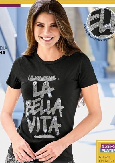 Playera Para Dama Color Negro 436-53 Cklass