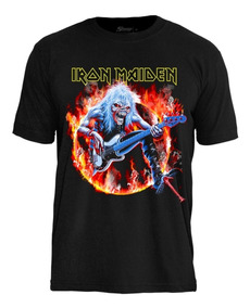 Camiseta Iron Maiden Fear Live Flame Ts1407 Stamp Oficial
