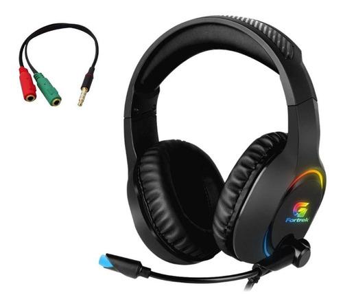 Headset Gamer Rgb Holt Com Adaptador P3 Pc Ps4 Xbox Fortrek