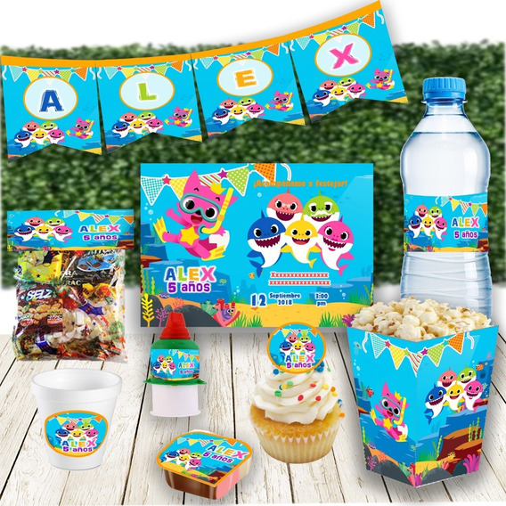 Kit Imprimible Invitaciones Candy Bar Baby Shark