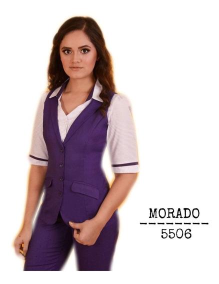 Chaleco Pantalón Mujer Uniforme Secretarial 5506 Morado