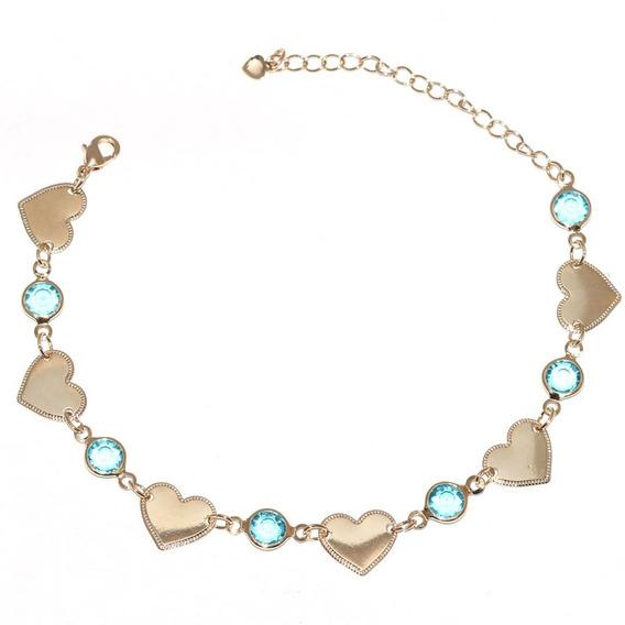 12 Pulseiras Madrinha Coração Pedra Azul Folheado A Ouro
