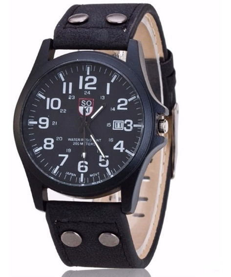 Relógio De Pulso Masculino Com Pulseira De Couro Preto Soki