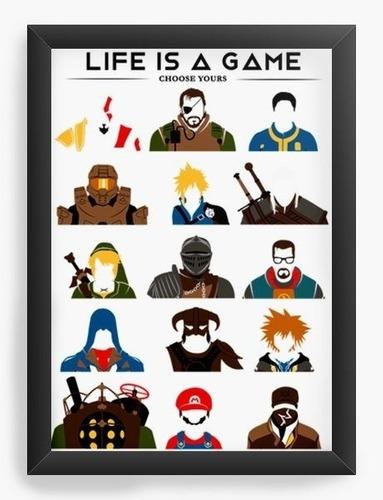 Quadro A3 45x35cm Geekz Life Is A Game