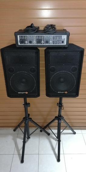 Combo Cornetas Saypro Y Consola Peavey Parales Microfono