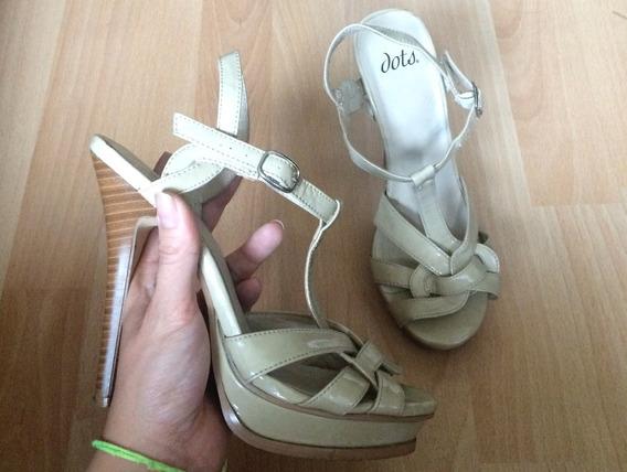 Zapatos Tacones Dots Piel Charol Beige 100% Originales!!