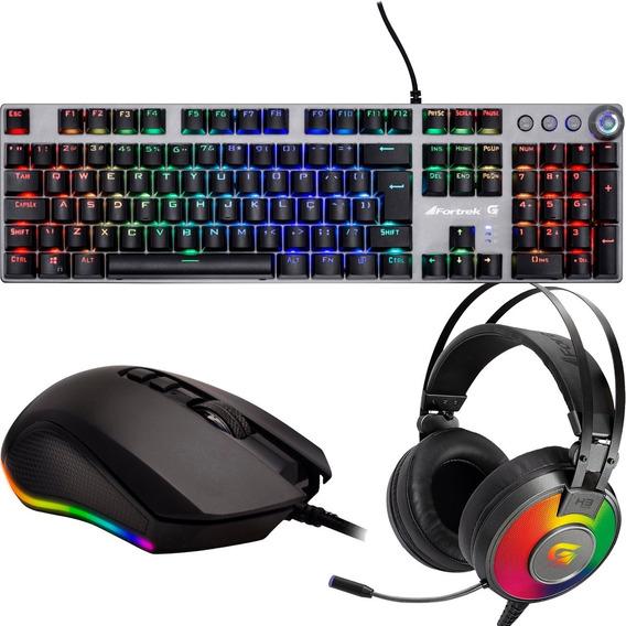Kit Gamer Pc Mouse Usb Headset 7.1 Teclado Mecânico Abnt2