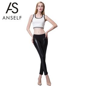 Leggings De Cuero Con Cintura Elástica De Moda Para Mujer
