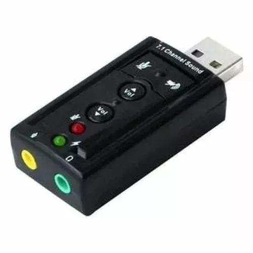 Placa De Som Usb 7.1 Canais 3d Adaptador Audio P2 Noteboo Pc