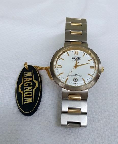 Relógio Magnum Caixa E Pulseira Em Metal Mista