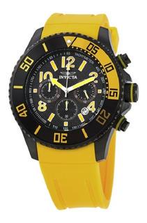 Reloj Invicta Pro Diver 13732 Carbon Negro Pulso Amarillo