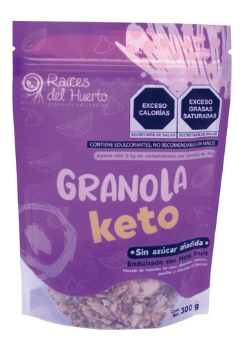 Imagen 1 de 5 de Granola Keto Chocolate 300g 3.2 G Carbs / Raíces Del Huerto