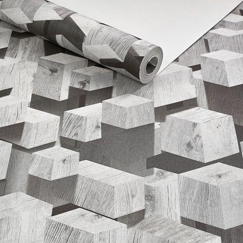 Imagem 1 de 3 de Papel Parede Geométrico Lavável 3d Cinza Preto Branco Cubo