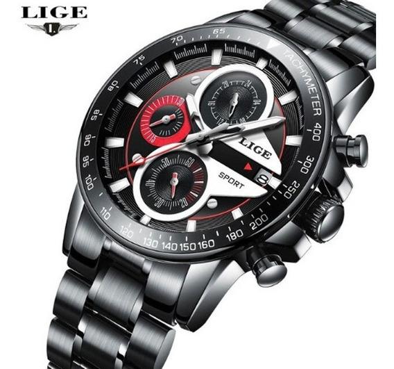 Relógio Masculino Lige 9835 Casual Esporte Quartzo Original