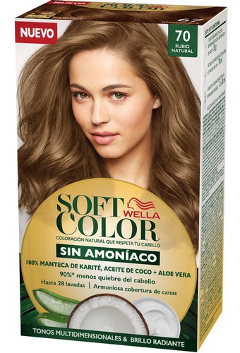 Tintura Wella Sin Amoniaco Kit Soft Color 70 Rubio Natural