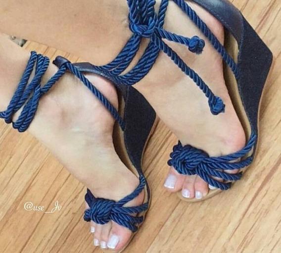 Sandália Anabela Azul Liinda!!!!
